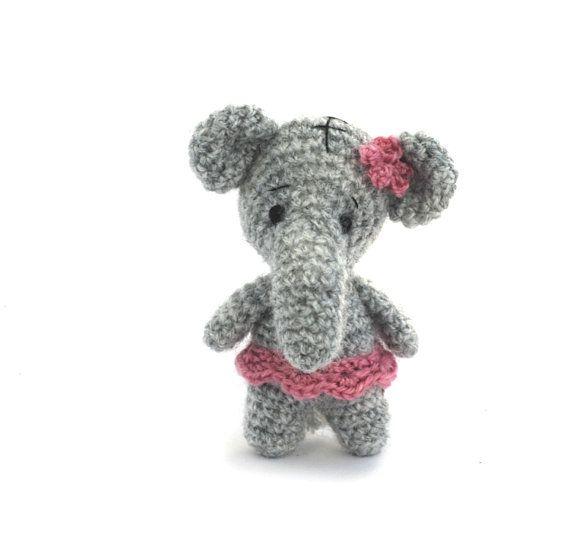stuffed elephant miniature softie elephant by tinyworldbycrochAndi