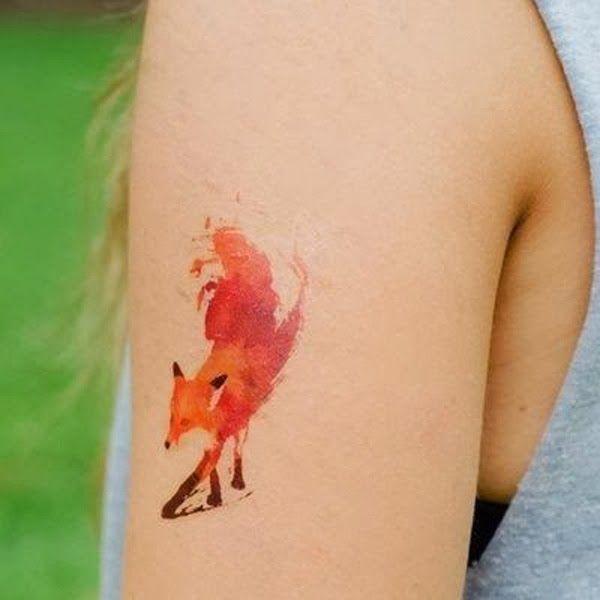 fox, watercolor, tat