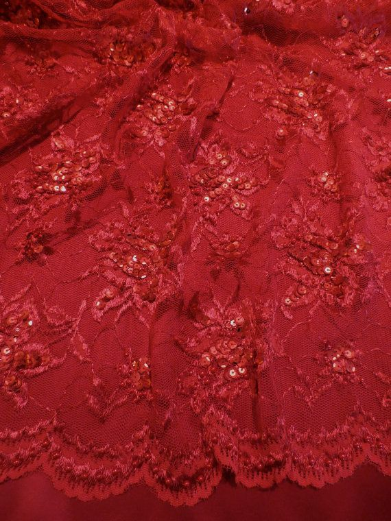 True Red Floral Design Beaded Lace By Fabricsandtrimmings