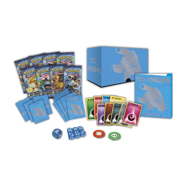 Pokémon TCG: XY—Evolutions Elite Trainer Box. Includes 8 Evolutions booster packs, 65 Mega Blastoise card sleeves, 45 Energy cards, and more.