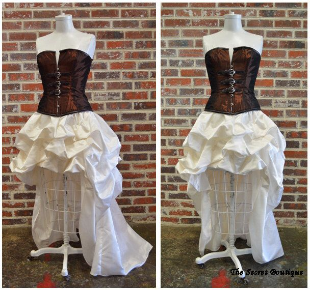 Steampunk wedding gown-steampunk dress-hi low corset wedding dress-plus size custom made ivory and copper(Etsy のthesecretboutiqueより) https://www.etsy.com/jp/listing/201877300/steampunk-wedding-gown-steampunk-dress