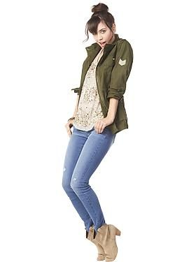 Outfit Idea: -military jacket -old lace shirt from like 2011  -dark/light blue jeans -ankle boots or sandals -leopard print scarf