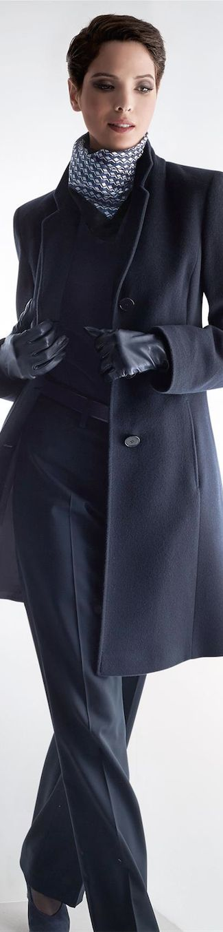 Navy suit. Career wear.