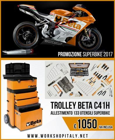 Trolley Beta C41H Arancione Allestimento 133 Utensili Superbike