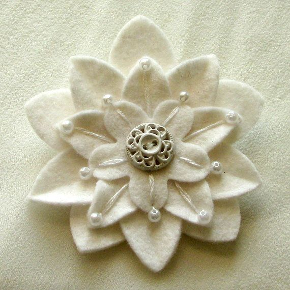 White on White Felt Flower Pin with Vintage White Button and Pearls and Hand Embroidery
