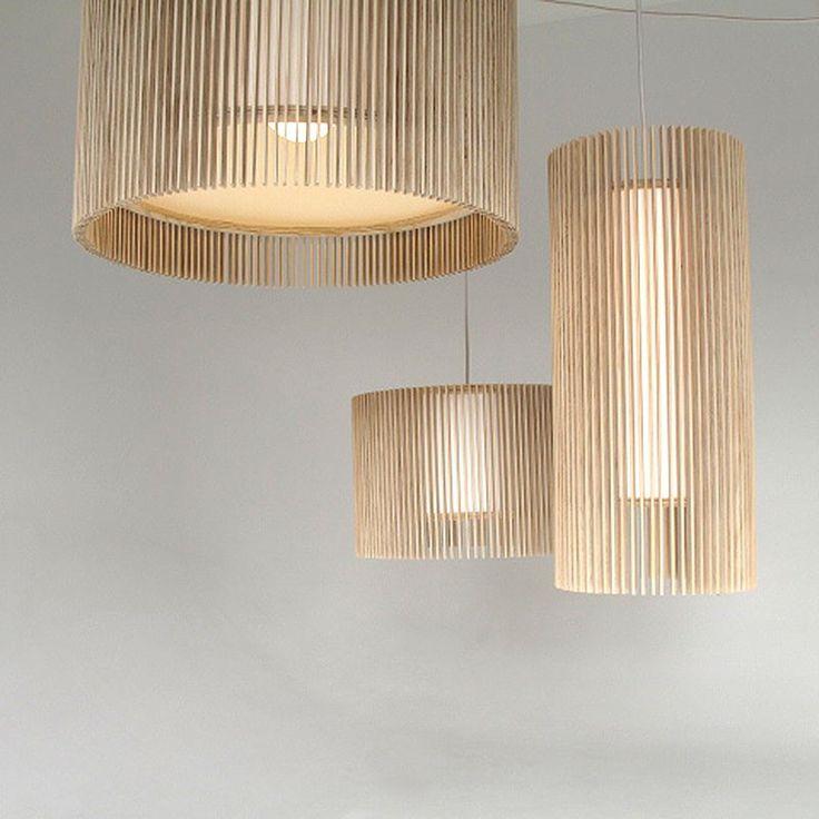 IO Drum Pendants cluster, IO Drum H 40cm x D 60cm, IO Drum H 30cm x 45cm and IO Pendant Long .