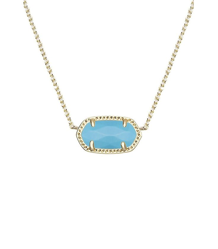 Kendra Scott Elisa Gold Pendant Necklace in Turquoise Magnesite 15 inch w/ 2 inch extender