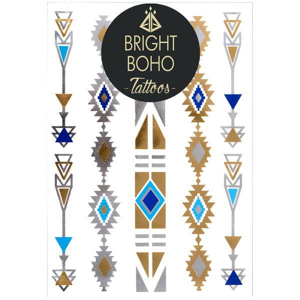 Tatuaże Boho Blue Arrows Set w Bright Boho Tattoos na DaWanda.com