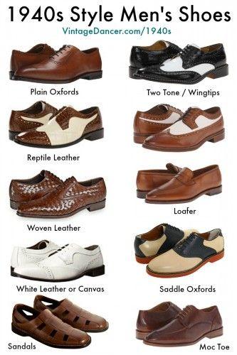 New 1940s style men's shoes. Shop now. at VintageDancer.com/1940s