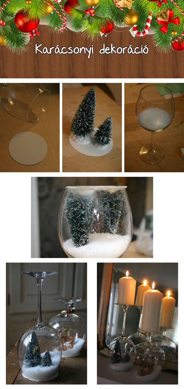 Karácsonyi dekoráció. Készítsz magad hógömböt borospohárból.