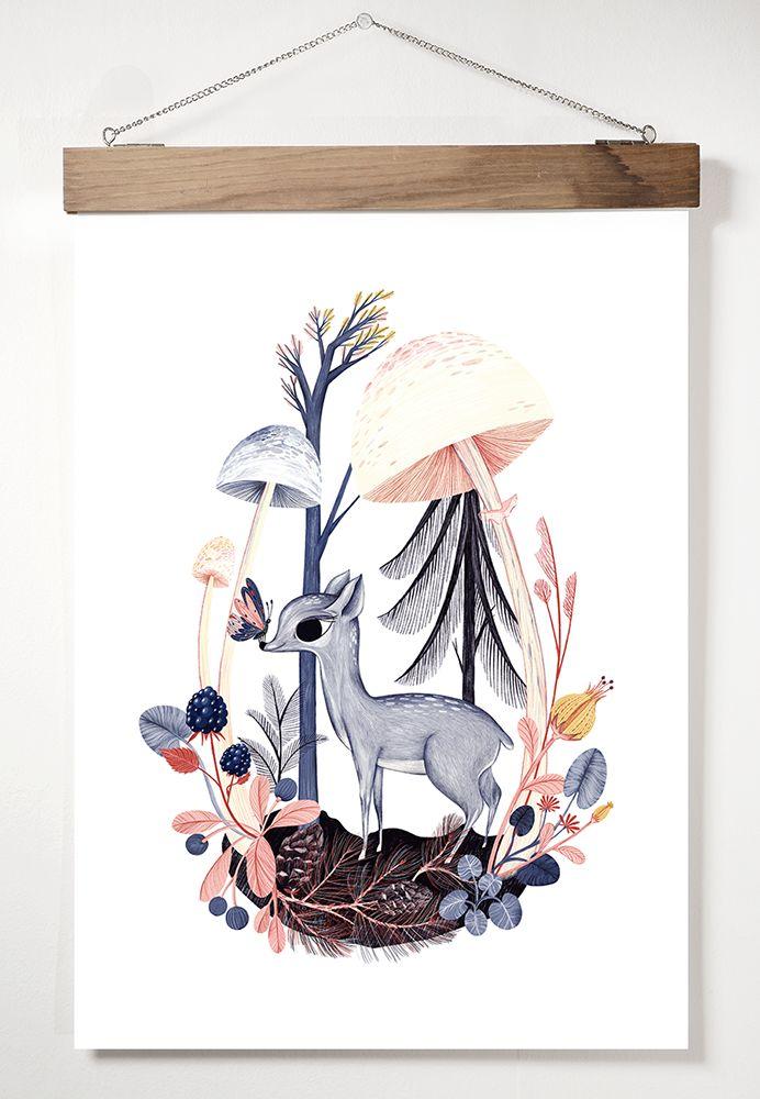 "A3 Adelina Lirius Art Print ""Blue Bambi"""