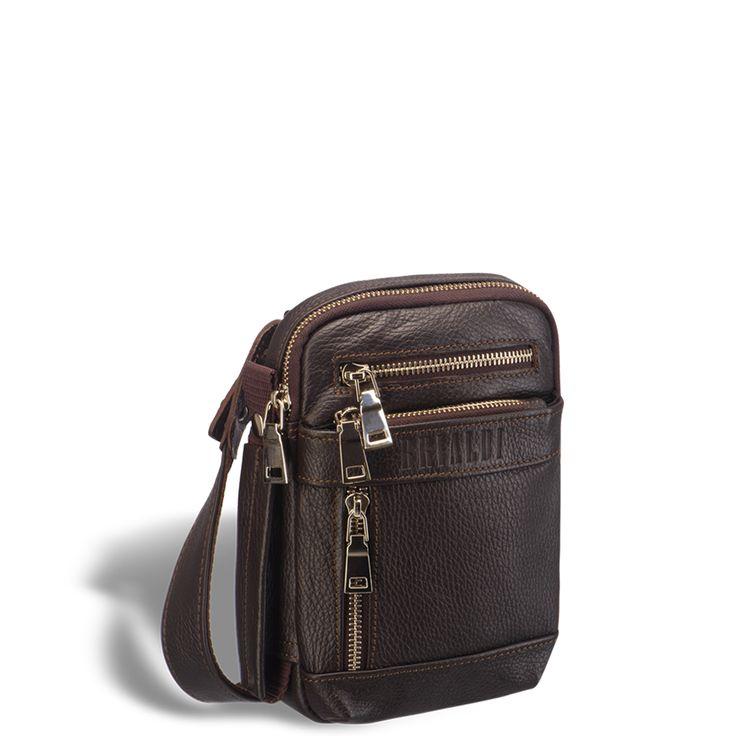 """Кожаная сумка через плечо mini-формата BRIALDI West (Вест) relief brown     Очень интересная, современная модель. Дизайн неожиданный, конструкция удобная, впечатление незабываемое. Легкая, прочная ткань, которая обеспечивает сумке невесомость. В компактной """"малышке"""" разместились: три наружных кармана на лицевой панели, один карман на молнии на задней панели. Так же на задней панели разместился карабин для ключей. Г-образный широкий угол раскрытия основного отделения позволяет добраться до…"""