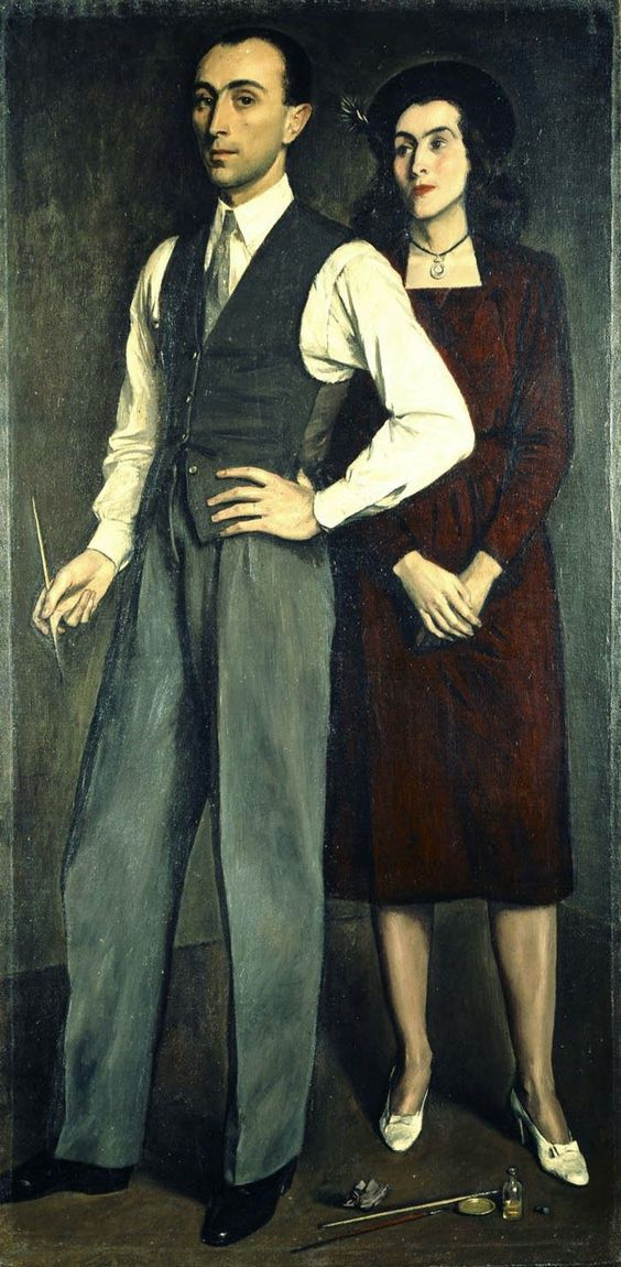 Yannis Moralis, Self-portrait with the Artist's Wife