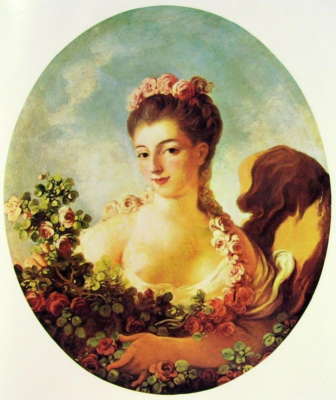 """Jean-Honorè Fragonard, """"Adeline Colombe cinta di fiori"""", 1773-76, a olio su tela, 80 x 64 cm, è custodito in una collezione privata a New York. La presente composizione decorava una delle stanze della residenza di Adeline Colombe a Ecouen."""
