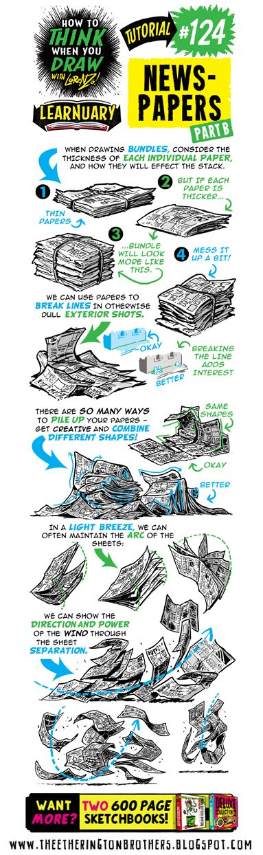 Today's tutorial for #LEARNUARY is How to THINK When You Draw NEWSPAPERS! PLUS MORE FREE TUTORIALS and REFERENCE SETS on our TWITTER ,...