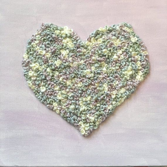 Heart Embroidered Canvas  10 READY TO SHIP  by LoopyInLove on Etsy
