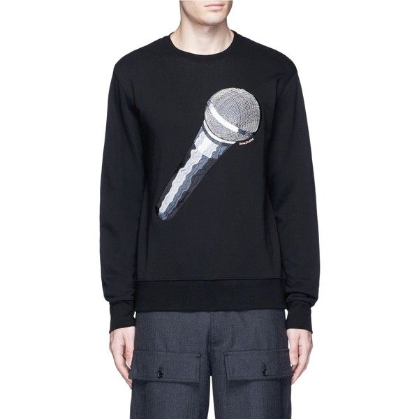 Acne Studios 'Casey' microphone emoji patch sweatshirt (395,390 KRW) ❤ liked on Polyvore featuring men's fashion, men's clothing, men's hoodies, men's sweatshirts, black and mens graphic sweatshirts
