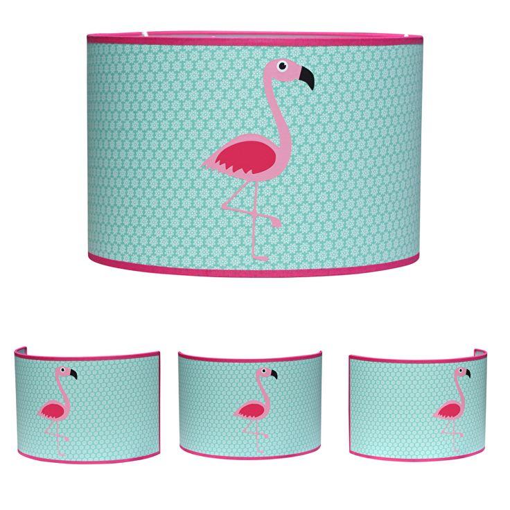Lamp flamingo in roze en mint. Deze flamingo lampenkap is een vrolijke combinatie van roze en mintgroen. Leuk om te combineren met de bijpassende wandlamp. De lampenkap is verkrijgbaar in drie maten. mintgroen hanglamp lamp kinderkamer babykamer meisjes