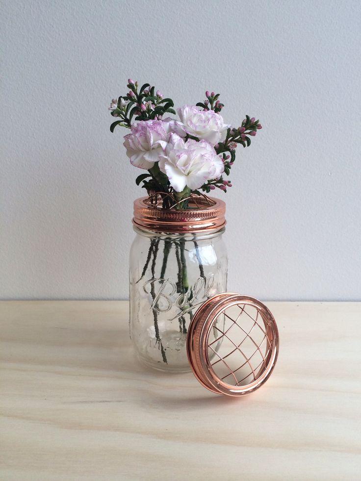 Specially designed copper lids for flowers from Rainy Sunday rainysunday.com.au