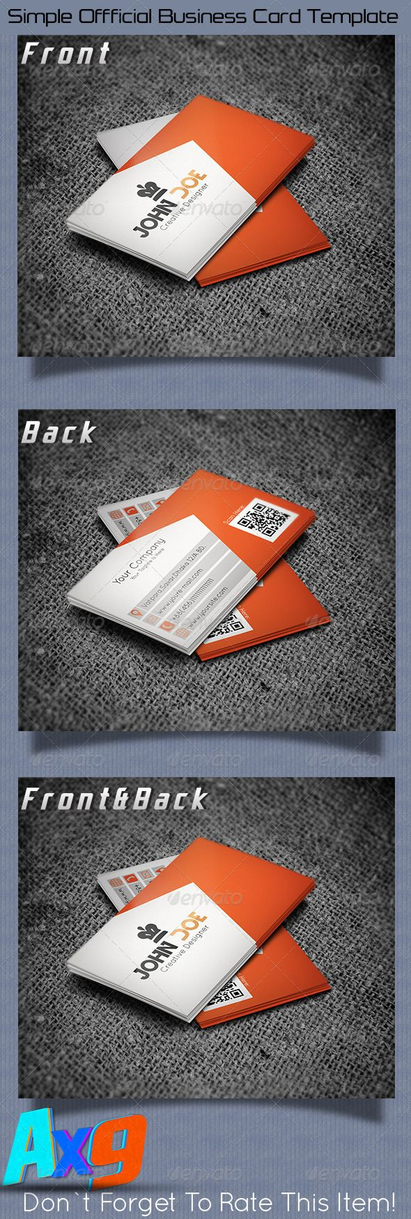 Simple Official Bussines Card  Template  #GraphicRiver