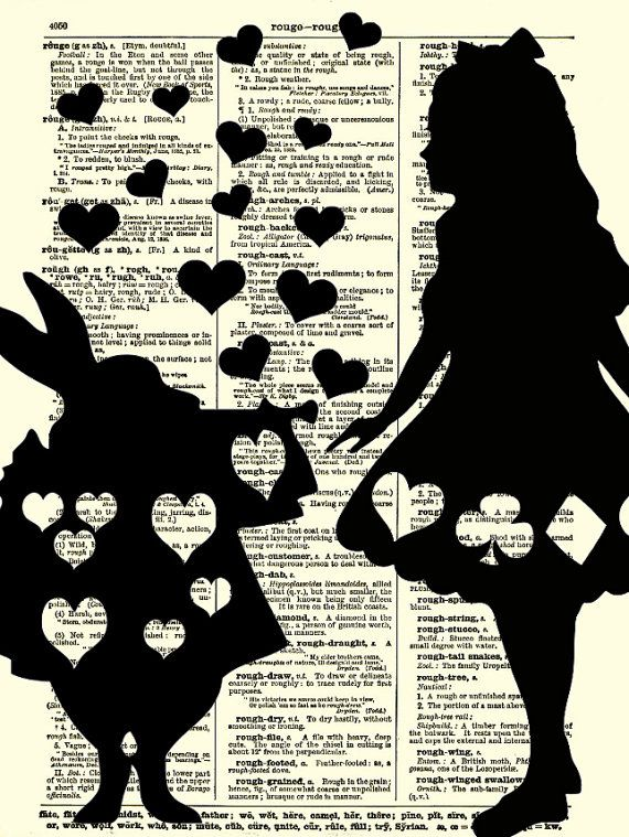Alice in Wonderland Art Print, Alice and the White Rabbit Dictionary Art, Home Decor, Dictionary Page, Dictionary Print, Wall Decor, Collage via Etsy