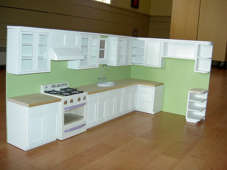 Way expensive; inspiration for a realistic kitchen. Playscale Kitchen by bedMiniatures on Etsy, $470.00