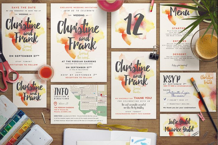 Dreamy Watercolor Wedding Suite I by The Wedding Shop on @creativemarket