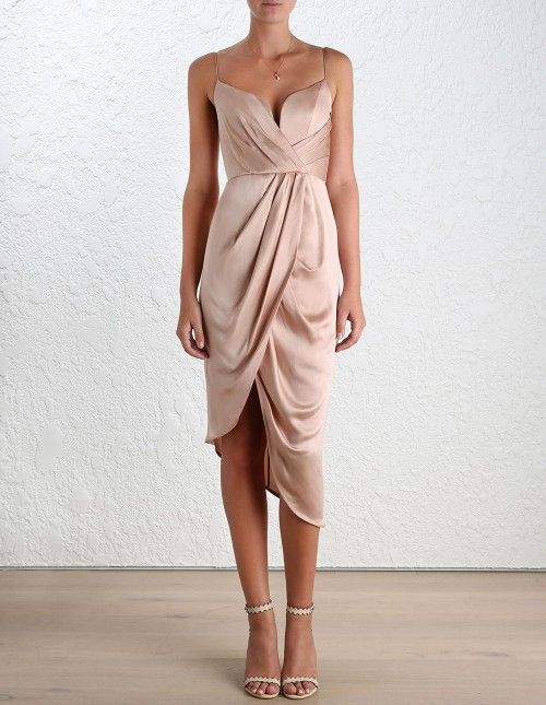 Sueded Silk Plunge Dress (Short Length) by Zimmermann - colour = Peony