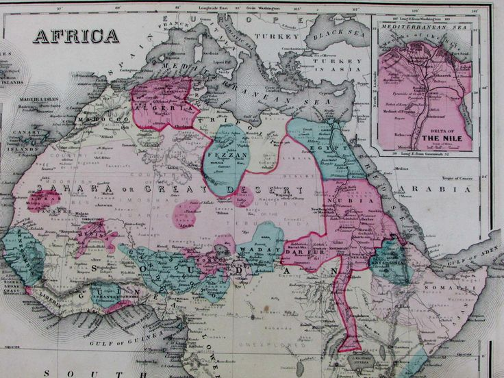 "Africa ""Unexplored"" region Cape Colony St. Helena Nile Delta 1876-7 Gray old map"