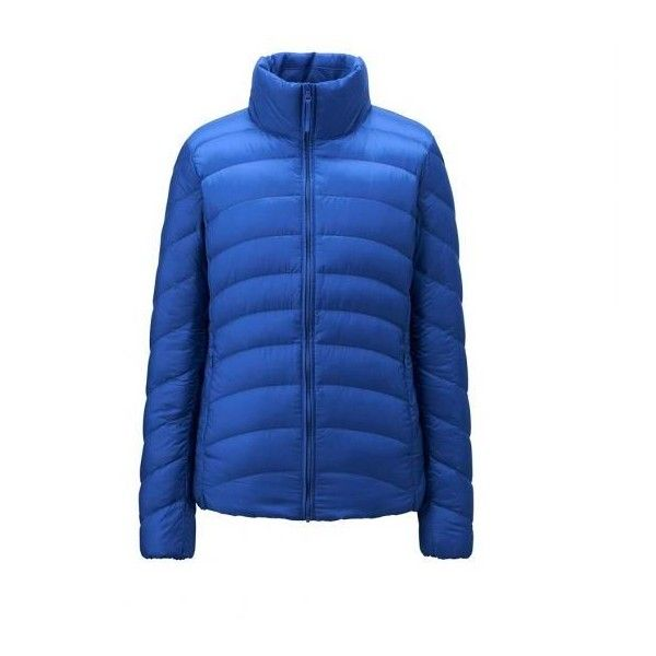 UNIQLO Ultra Light Down Jacket ($43) ❤ liked on Polyvore featuring outerwear, jackets, uniqlo jacket, uniqlo, blue down jacket, down filled jacket and down jacket