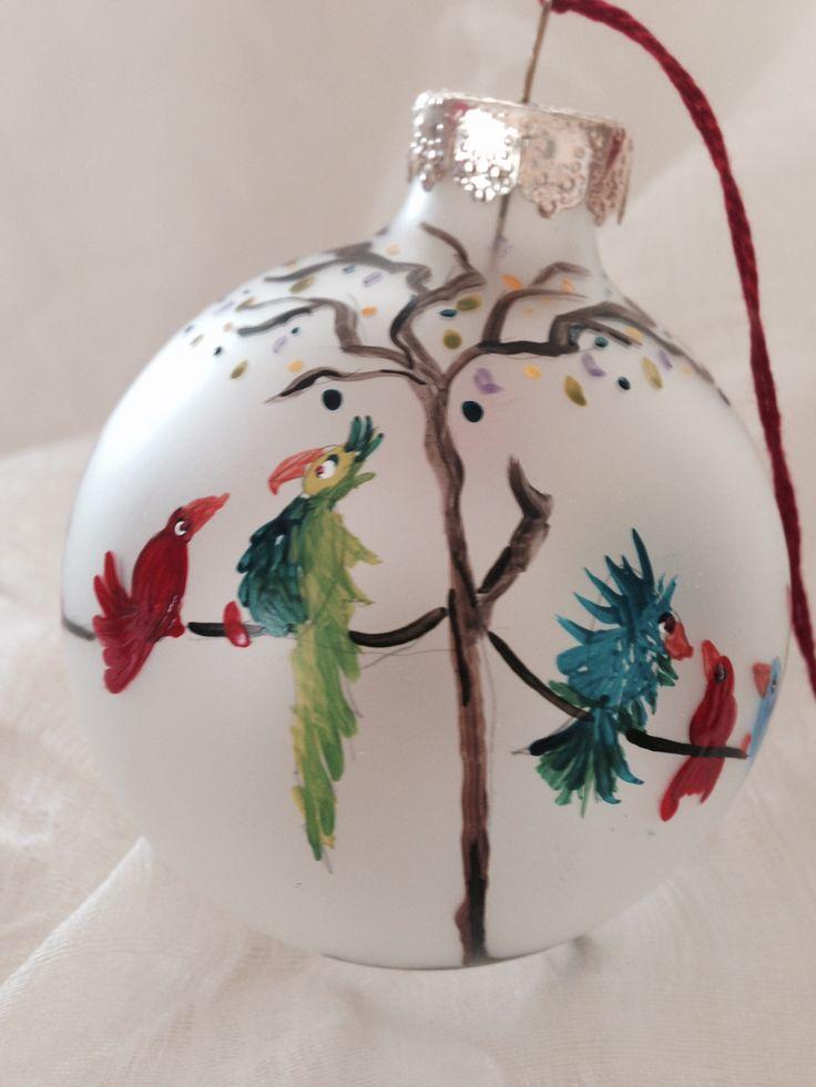 Holiday birds. Handpainted by Melissa McNamara