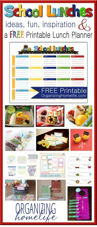 School Lunch Ideas & a Free School Lunches Printable Planner | Organizing Homelife