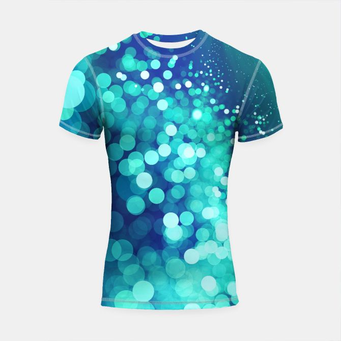 Aqua Blue Glitter Sparkles Shortsleeve Rashguard, Live Heroes @liveheroes by @photography_art_decor. All product: https://liveheroes.com/en/brand/oksana-fineart #fashion #clothing #online #shop #design #geometry #metalic #bright #shine #psychedelic #abstract #metalic #abstract #briht #pattern #trendy #stylish #fashionable #modern #awesome #amazing #clothes  #glitter #bokeh #dots #sparkling #girly #twist #swirl #psychedelic #light #aqua #blue #marine #water #sparkles #night
