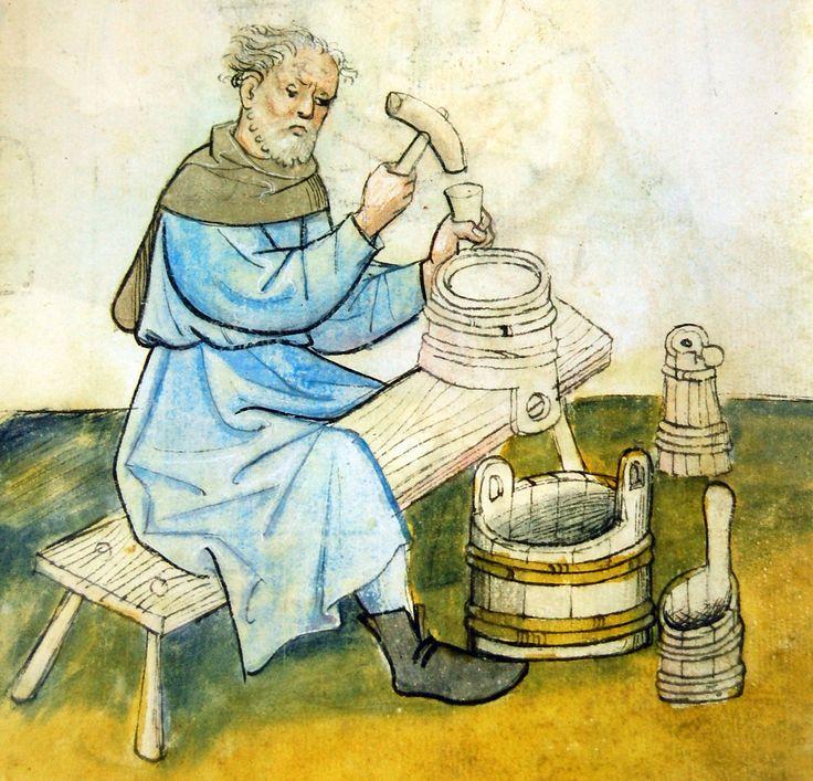 Medieval cooper at work (Hausbuch der Mendelschen Zwolfsbruderstiftung)