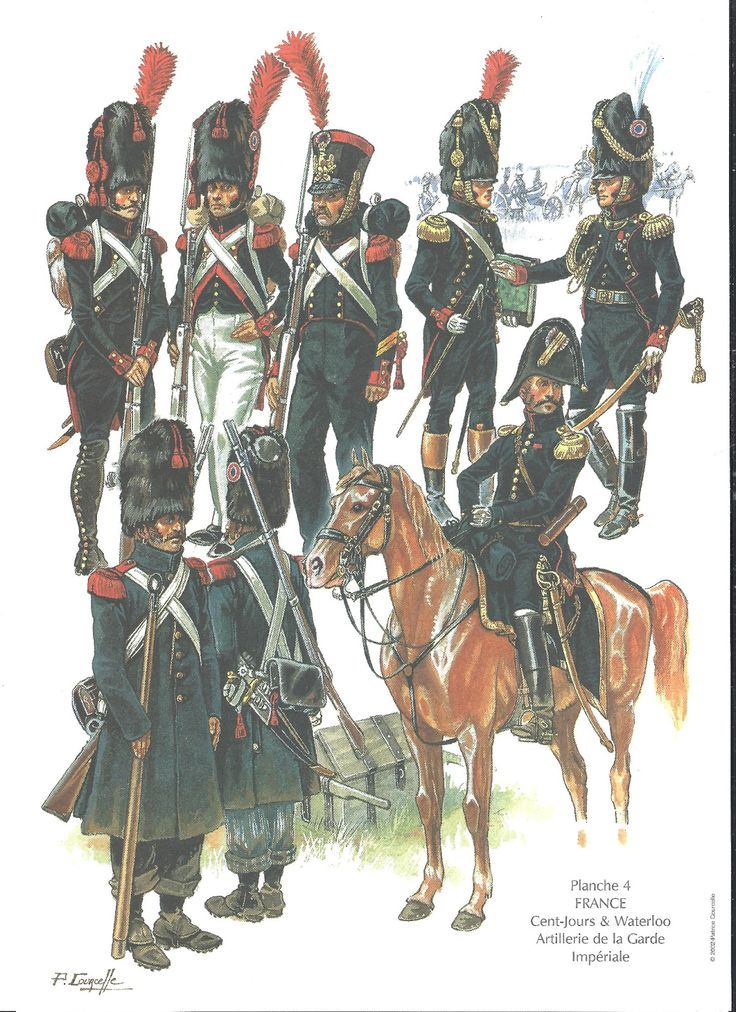 A painting of some of the French soldiers in the 1600. Their outfit colors are blue, red, and white for their gratitude to their flag and country.