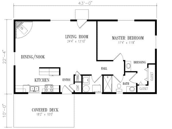 40x20 1 bedroom house plans | ... square feet, 1 bedrooms, 1 batrooms, on 1 levels, Floor Plan Number 1
