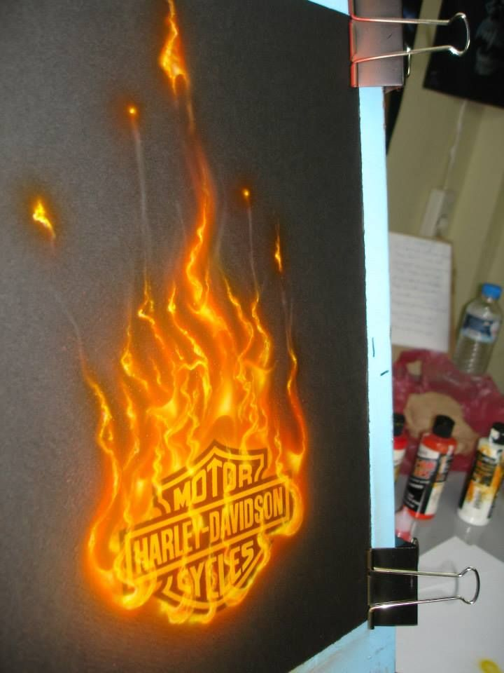 True-Fire technique!-HARLEY logo...ON FIRE!!!