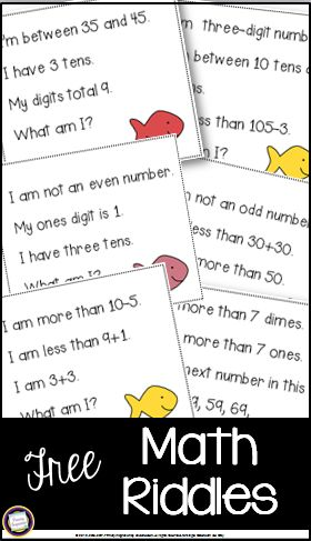 Math  Riddles = Lots of Learning Fun!  Hi Teaching Friends! You work hard every day to keep the fun in learning! Here's a quick and easy way to build number sense while you and your students also have fun. Your first and second grade students will use the clues on these 12 multi-step riddle cards to determine a number between one and 120. They'll use clues about basic addition and subtraction coins (pennies nickels and dimes) place value adding and subtracting tens and comparing…
