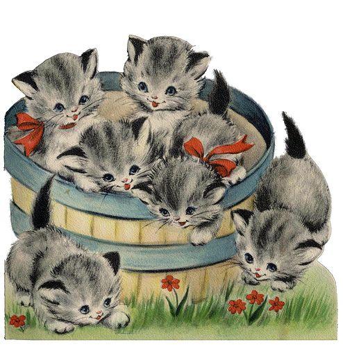 Bushel basket, kittens. ImagiMeri's