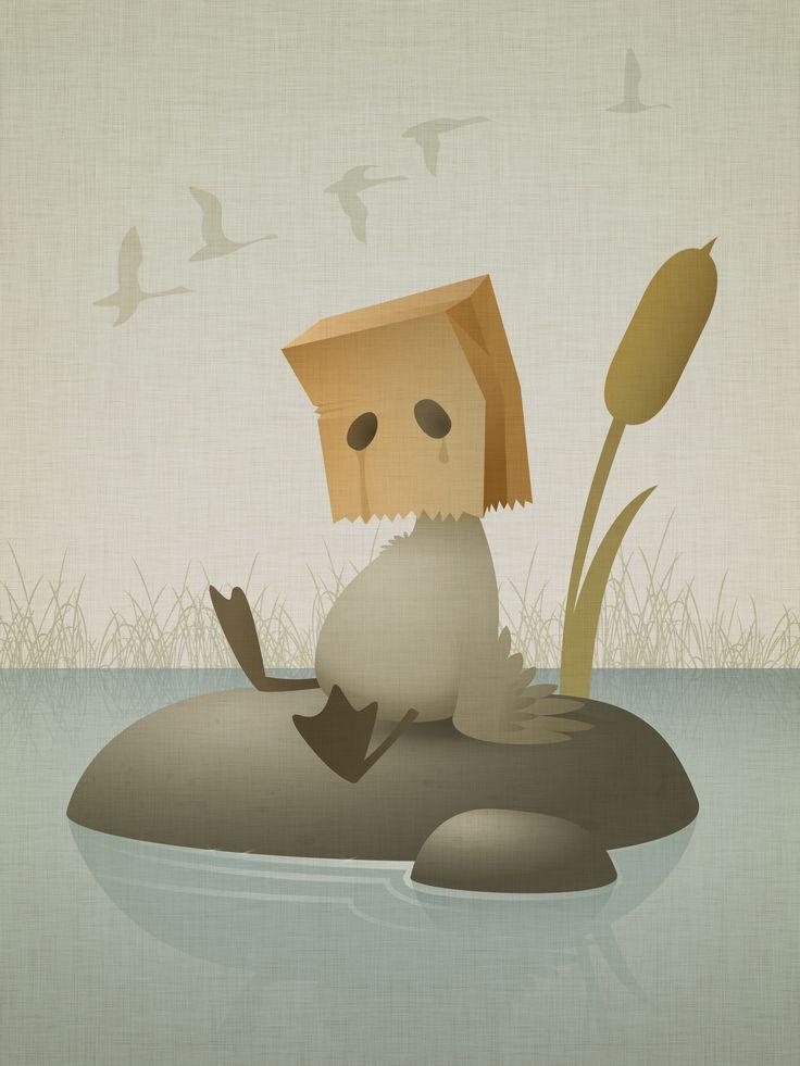 The Ugly Duckling Karianne Hutchinson illustration vector illustrator ugly paper bag sack sad art