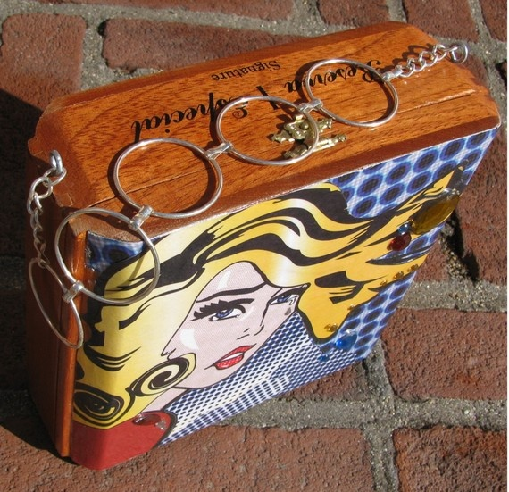 Lichtenstein Style Pop Art- Wooden Cigar Box Purse/ Collectable ***interesting chain for the strap/handle***