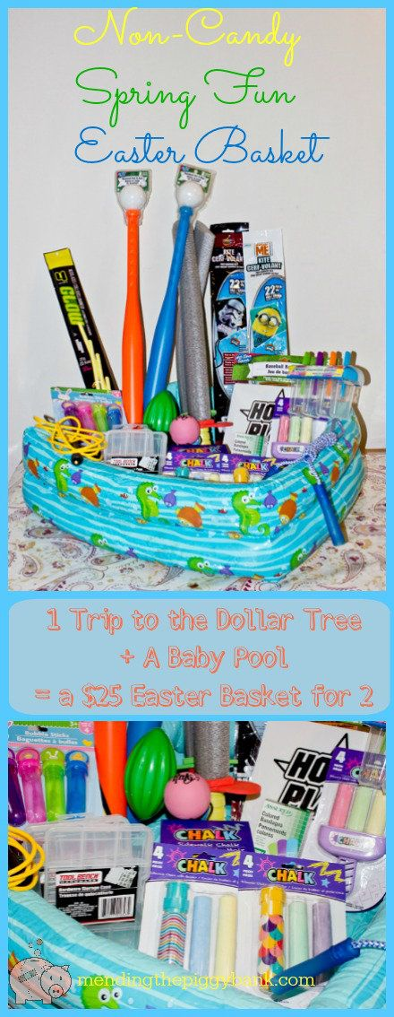 Non-Candy Spring Fun Easter -- Basket Sick of giving the kids an Easter basket filled with candy and items that'll be tossed away by the end of the week? My 'Non-Candy Spring Fun Easter Basket' will get your kids playing outside and enjoying the warmer weather for weeks! Better yet? Check out the price! | No Candy Easter Basket | Non-Traditional Easter Basket