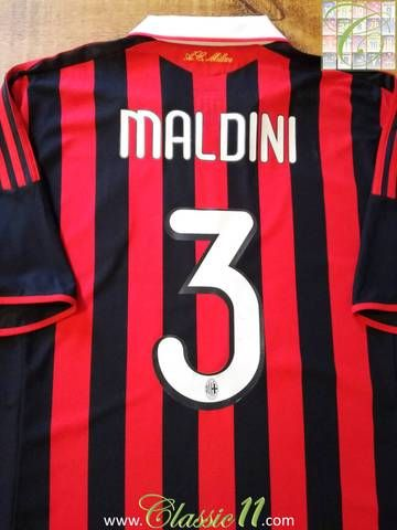 Official Adidas AC Milan Paolo Maldini tribute home football shirt from 2009. Complete with Maldini #3 on the back of the shirt and Paolo Maldini tribute patch on the chest.