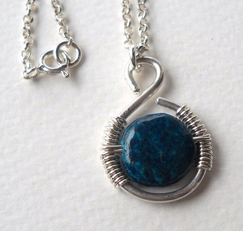 925 Sterling Silver Azurite Chrysocolla Wrapped Wire Pendant Necklace  Azurite Chrysocolla bead 12x5mm  925 Sterling Silver wire 1.5mm  925 Sterling Silver wire 0.6mm  925 Sterling Silver Neckchain 46