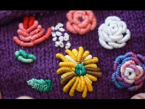 Вышивка по трикотажному полотну (embroidery on knitted fabric,decoration on booties and gloves) - YouTube
