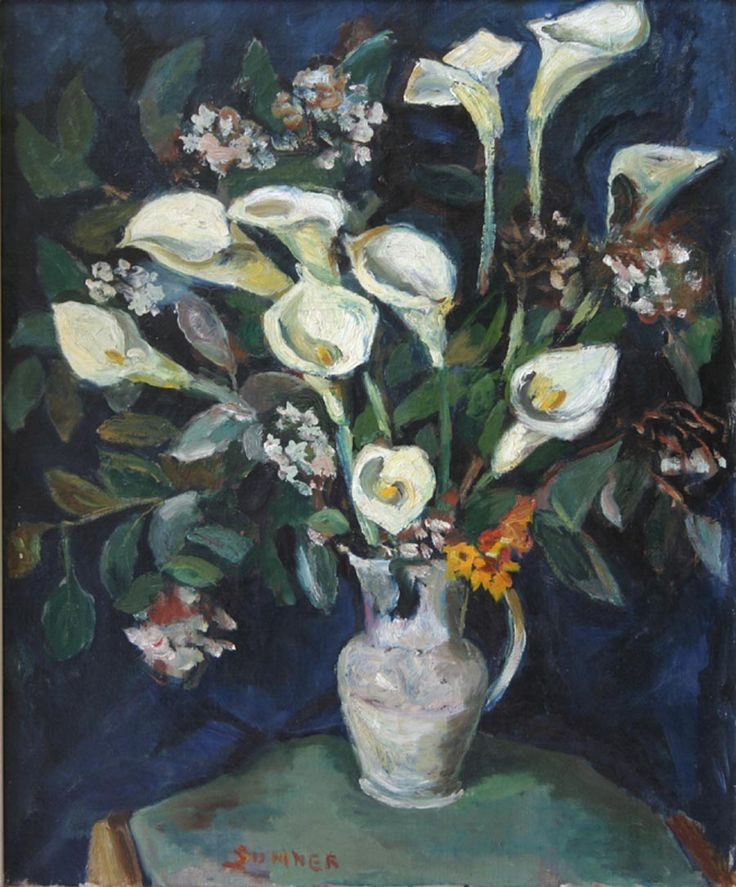 Maud Frances Eyston SUMNER ( South African: 1902-1985 - Arum lilies in a jug