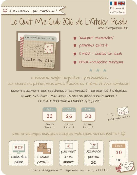 QUILT ME CLUB 2016 'Market Memories - L'Atelier Perdu - Mystery BOM/Quilt Mystere - Sign up now/Inscrivez-vous maintenant ! | www.atelierperdu.fr