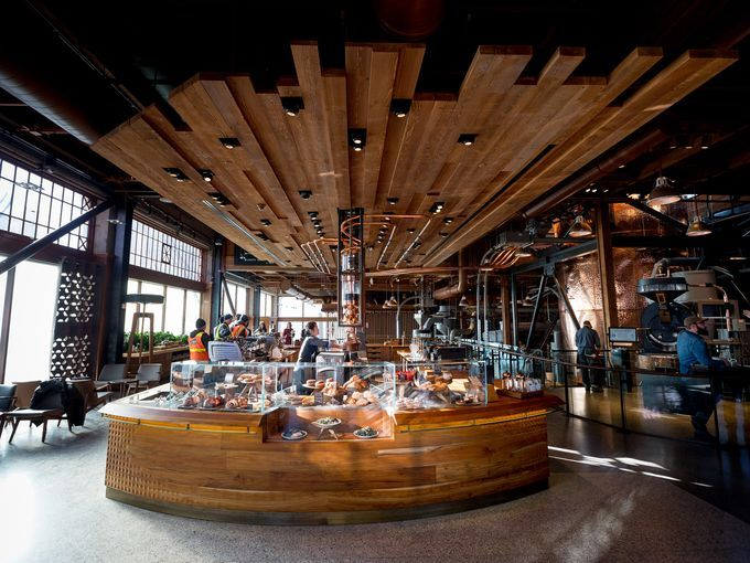 Starbucks Reserve Roastery and Tasting Room mega-store opened today 12/5/14 : a cup of coffee is $3 to $8