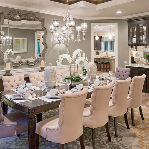 champagne chooses beige for its dinner partner in this casually elegant interior featuring our roxbury collection - Fancy Dining Room