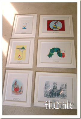 Frame pictures of your favorite children's story books as room decor